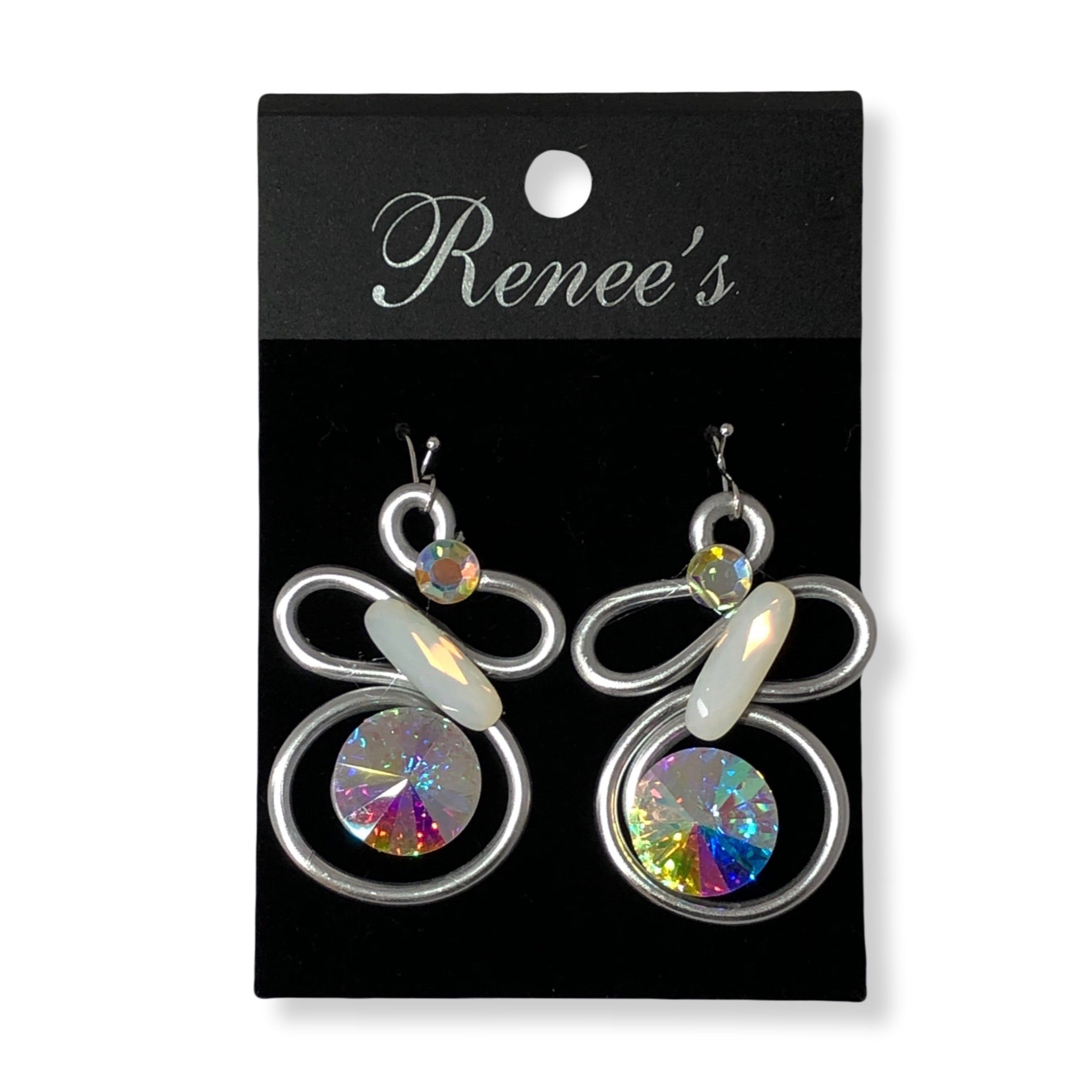 Opalescent / Multicolored Crystal / Silver Wire Earrings