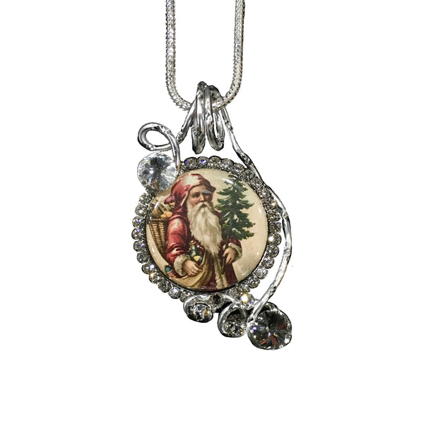 Silver Santa with Jingle Bells Pendant