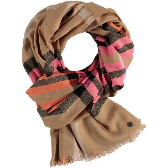 Cashmink Scarf - Camel Plaid With Pink - Boutique Marie Dumas
