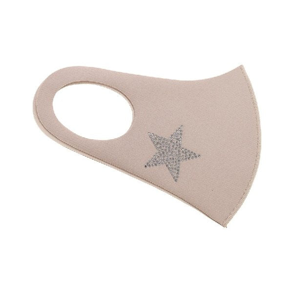 Fashionable Face Mask - Nude with Crystal Star - Boutique Marie Dumas