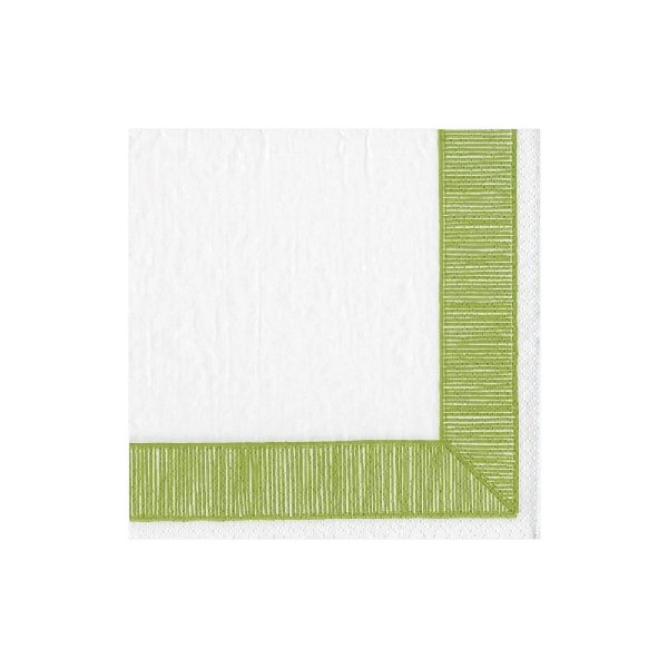Green Ribbon Border Cocktail Napkins - Boutique Marie Dumas
