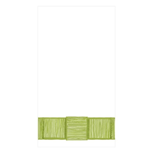 Green Ribbon Border Guest Napkins - Boutique Marie Dumas