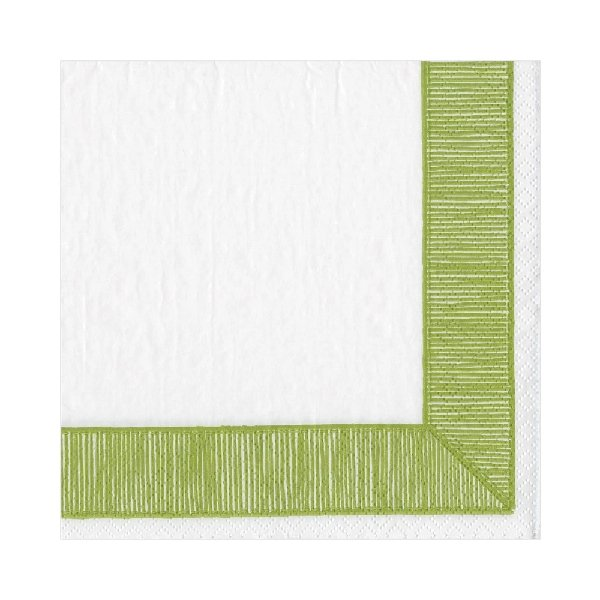 Green Ribbon Border Luncheon Napkins - Boutique Marie Dumas