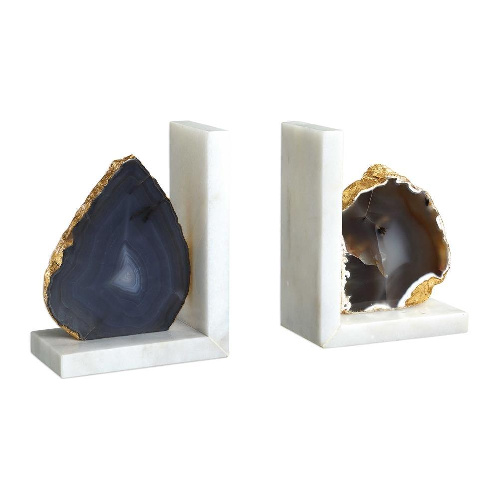 Grey Agate Bookends - Boutique Marie Dumas