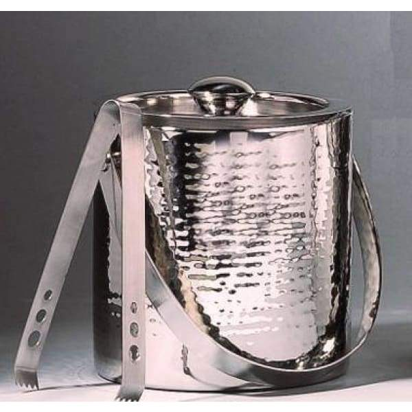 Hammered Finish Ice Bucket with Tongs - Boutique Marie Dumas