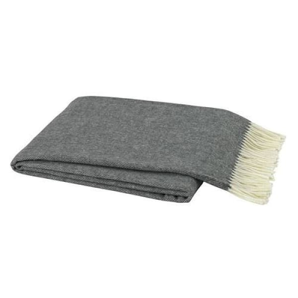 Italian Herringbone Throw - Charcoal Gray - Boutique Marie Dumas