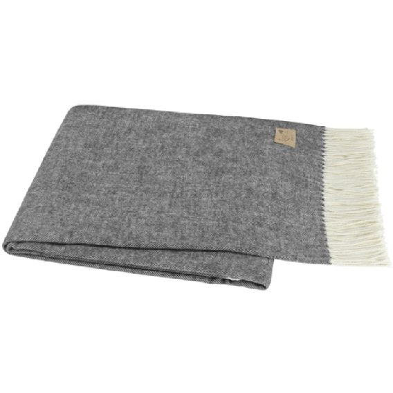 Italian Herringbone Throw - Graphite - Boutique Marie Dumas