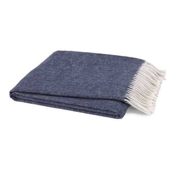 Italian Herringbone Throw - Indigo - Boutique Marie Dumas
