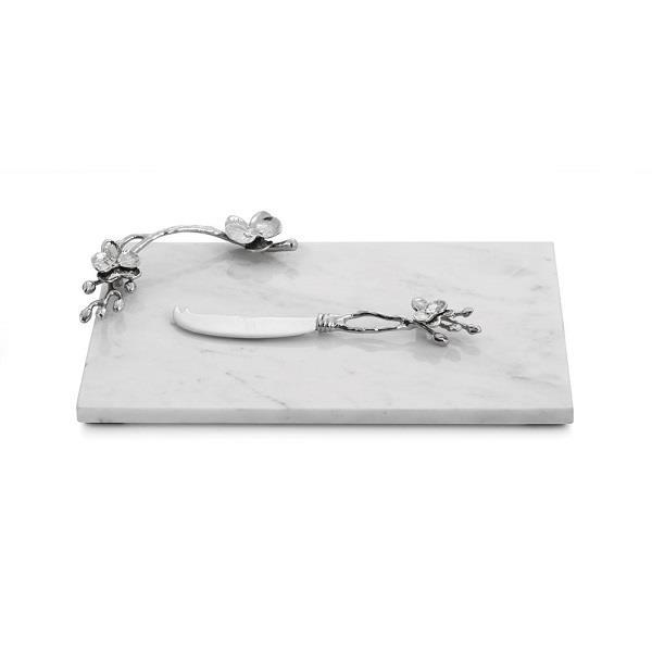 Michael Aram White Orchid Small Cheese Board with Knife - Boutique Marie Dumas