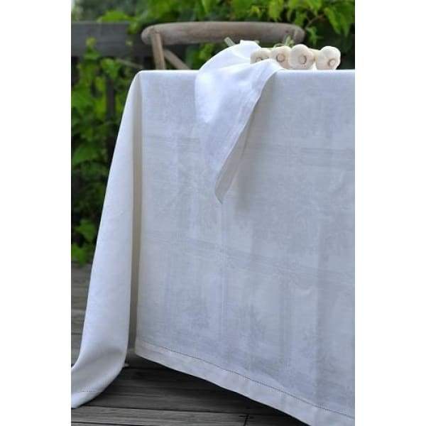 "Natalie White 67"" x 110"" Linen Tablecloth - Boutique Marie Dumas"
