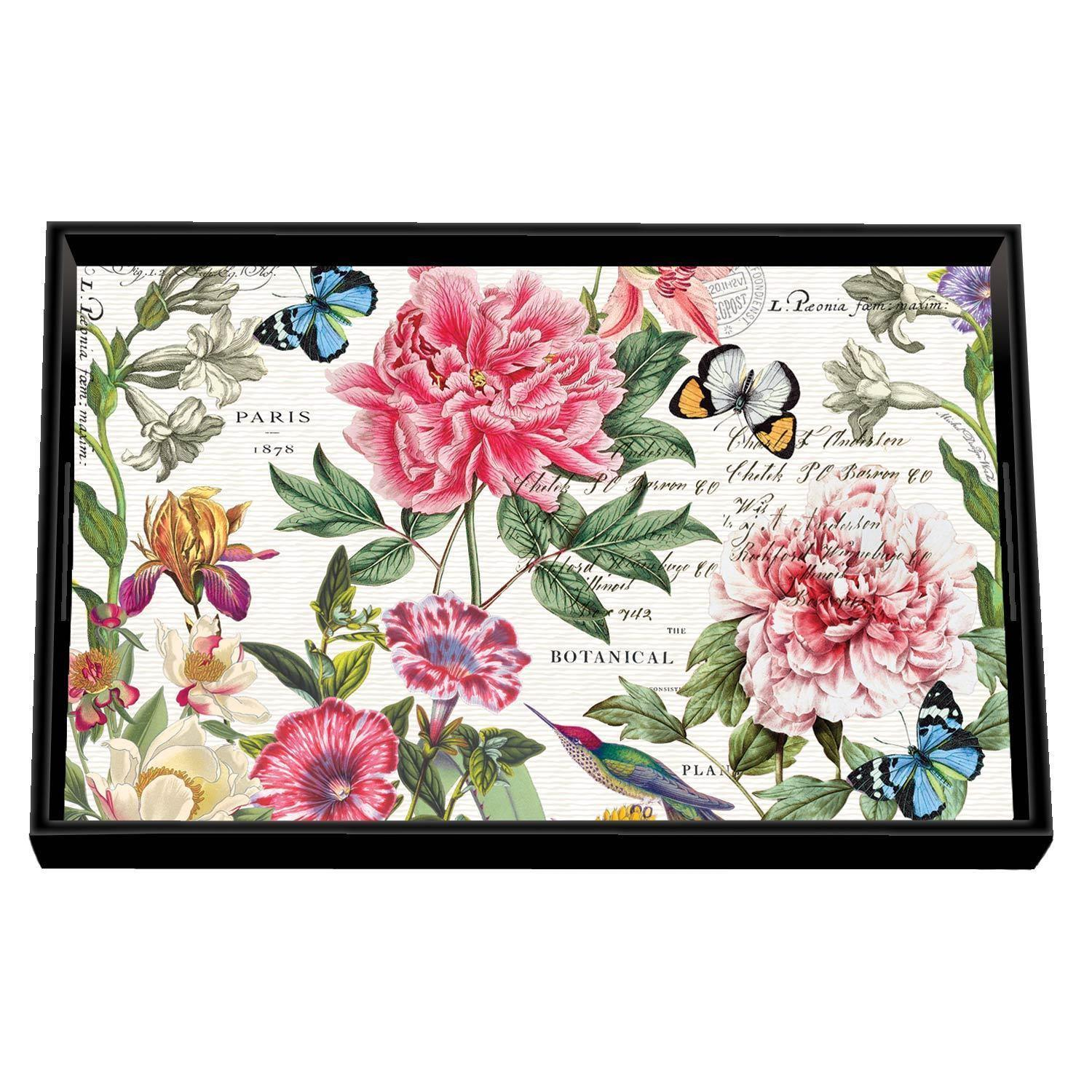 Peony Decoupage Wooden Vanity Tray - Boutique Marie Dumas