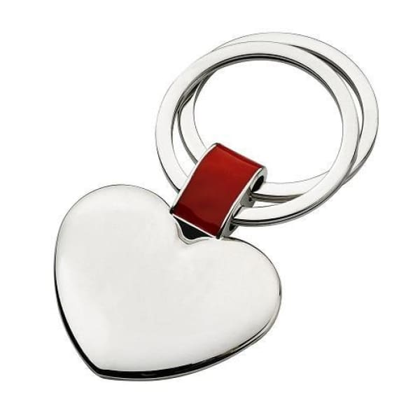 Polished Heart Dual Keychain With Red Accent - Boutique Marie Dumas