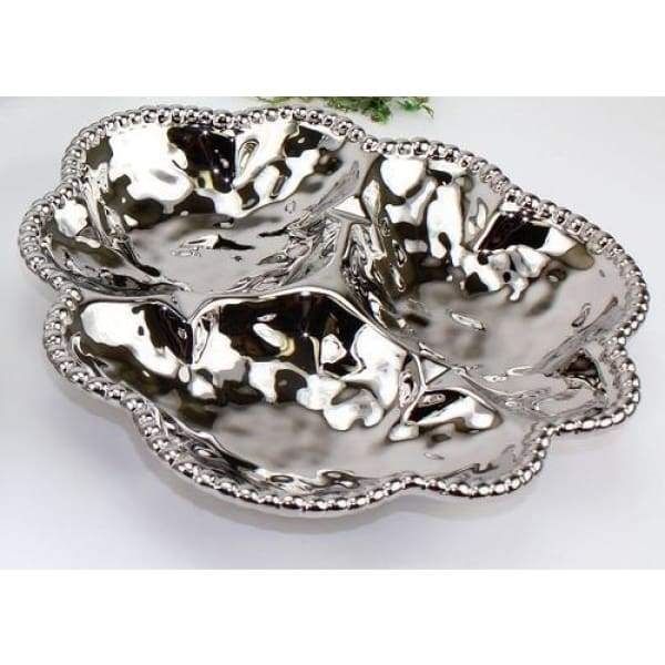 Porcelain 3-Section Serving Dish - Silver - Boutique Marie Dumas