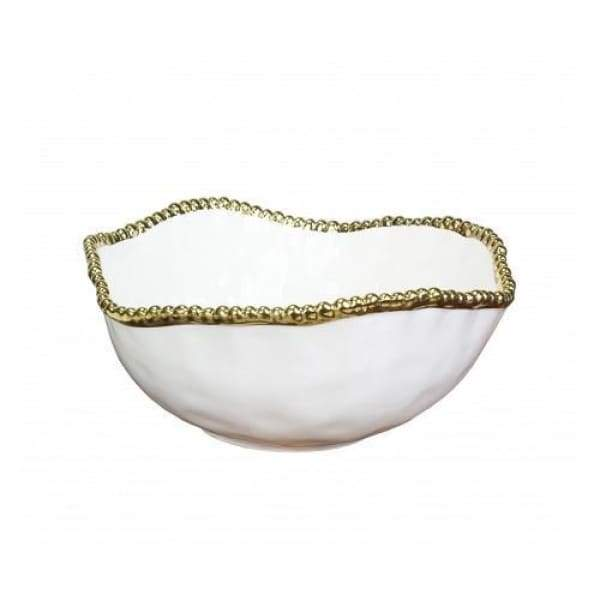 Porcelain Large Salad Bowl - White and Gold - Boutique Marie Dumas