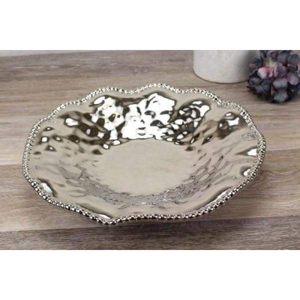 Porcelain Large Serving Platter - Silver - Boutique Marie Dumas