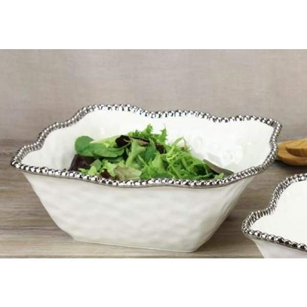 Porcelain Large Square Bowl - White and Silver - Boutique Marie Dumas