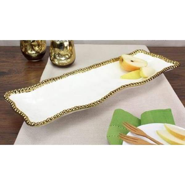 Porcelain Rectangular Serving Piece - White and Gold - Boutique Marie Dumas