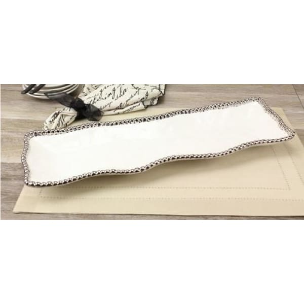 Porcelain Rectangular Serving Piece - White and Silver - Boutique Marie Dumas