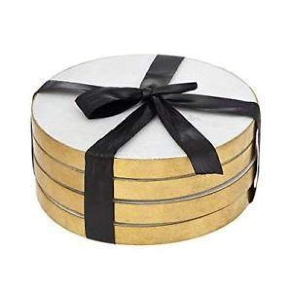 Round Coasters W/ Gold Edge - Set of 4 - Boutique Marie Dumas