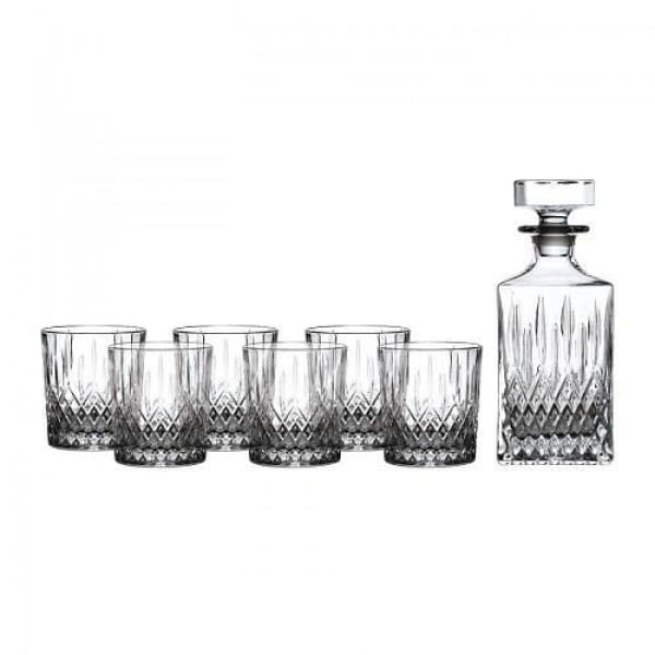 Royal Doulton Earlswood Decanter w/ 6 Whiskey Tumblers - Boutique Marie Dumas
