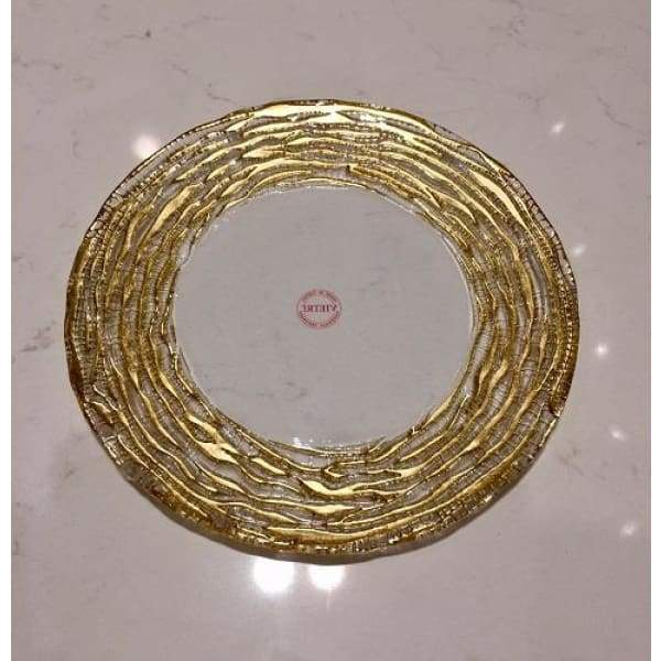 Ruffle Gold Stripe Salad Plate - Boutique Marie Dumas