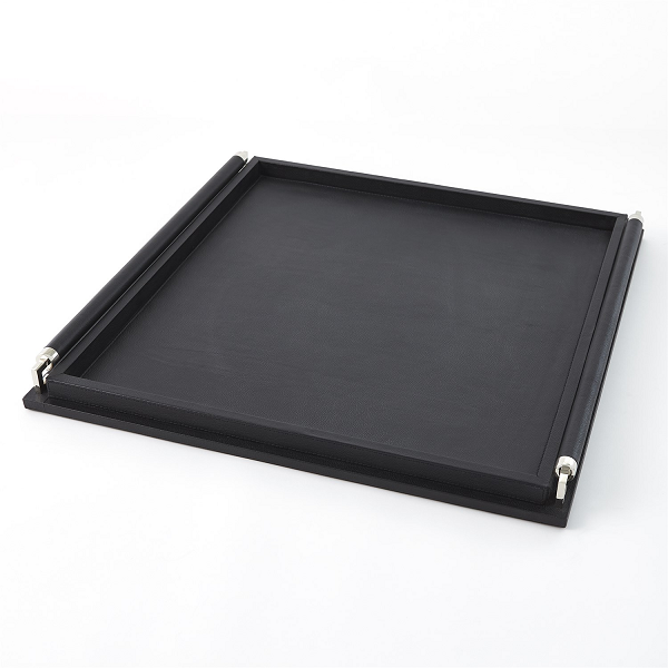 Large Black Leather Tray