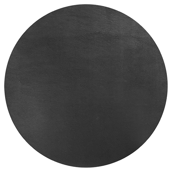 Round Leather Placemat - Black