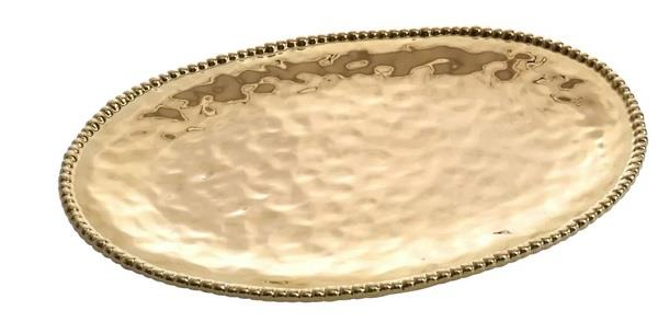 Porcelain Large Oval Platter - Gold