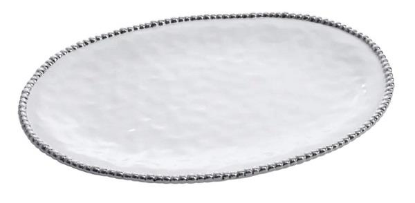 Porcelain Large Oval Platter - White and Silver