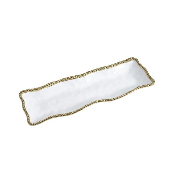 Porcelain Rectangular Serving Piece - White and Gold