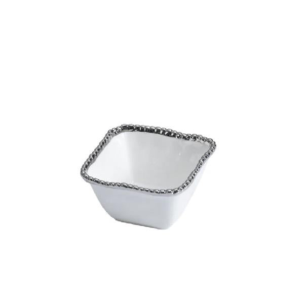 Porcelain Square Snack Bowl - White and Silver