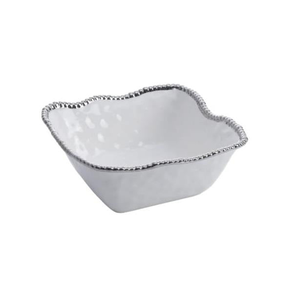 Porcelain Large Square Bowl - White and Silver