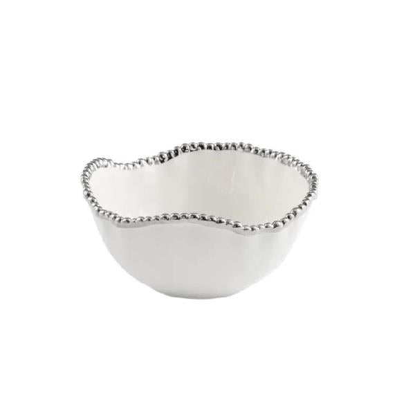 Porcelain Medium Salad Bowl - White and Silver