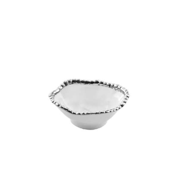 Porcelain Snack Bowl - White and Silver