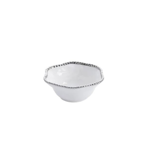 Porcelain Medium Bowl with Silver Trim