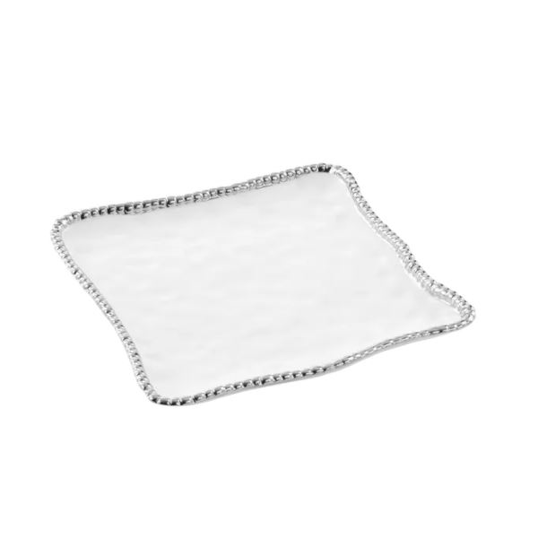 Porcelain Square Serving Platter - White and Silver