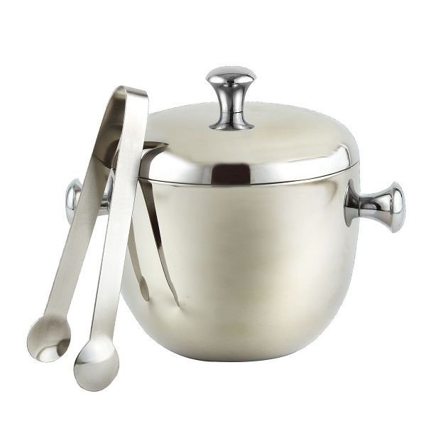 Smooth Stainless Steel Ice Bucket with Tongs