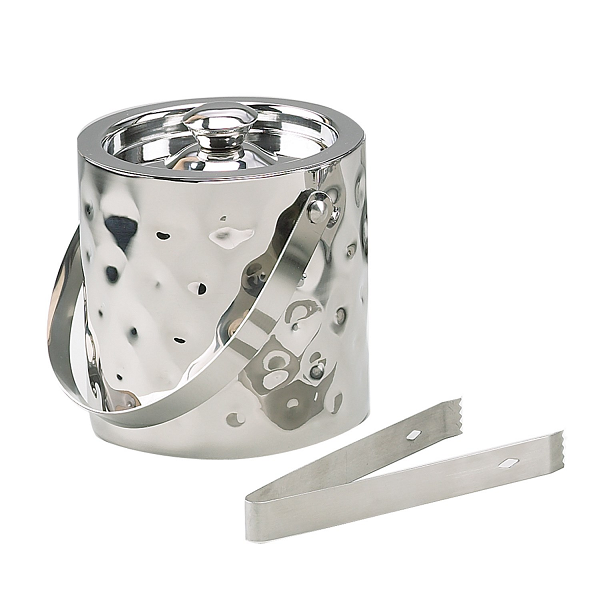 Stainless Steel Hammered Ice Bucket with Tongs