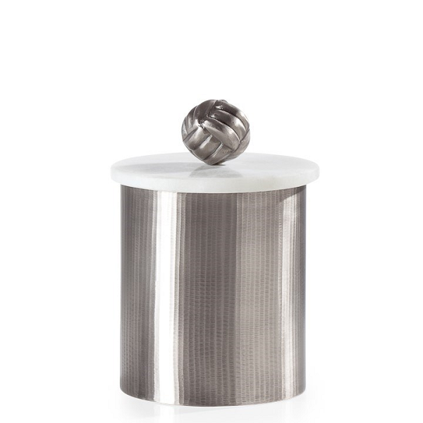 Pewter Canister with Marble Lid - Medium
