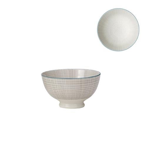 Kiri Porcelain Small Bowl Grey With Blue Trim