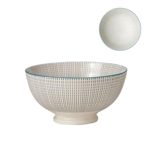 Kiri Porcelain Medium Bowl Grey With Blue Trim