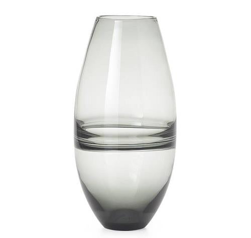 Saturn Ring Smoke Glass Bullet Vase - Large