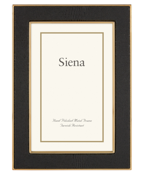 Siena Shagreen Black 4x6 Gold Frame