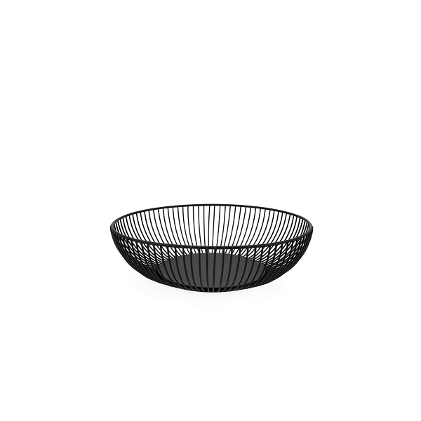 Black Ribbed Fruit Bowl