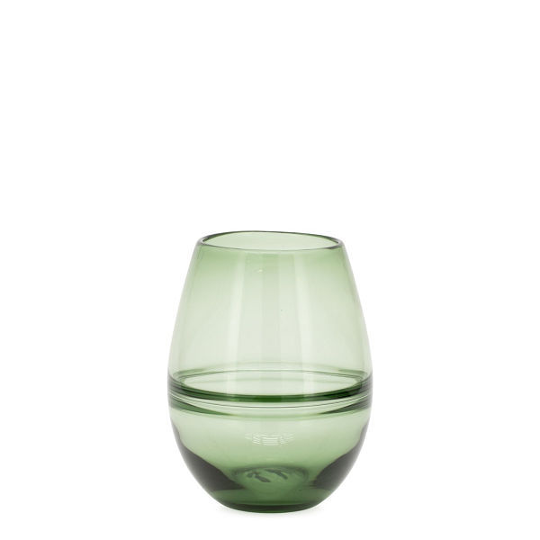 Saturn Ring Olive Glass Bullet Vase - Medium