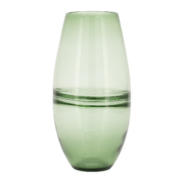 Saturn Ring Olive Glass Bullet Vase - Large