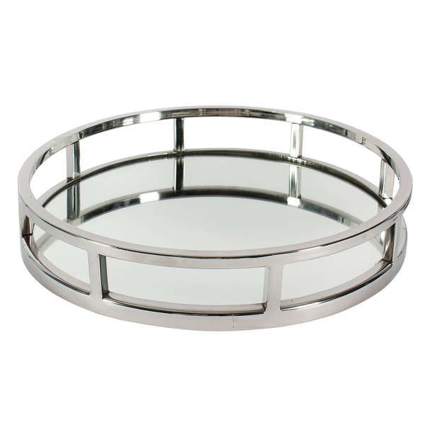 Round Mirrored Nickel Tray