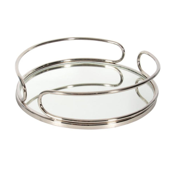 Nickel Round Mirrored Tray 16