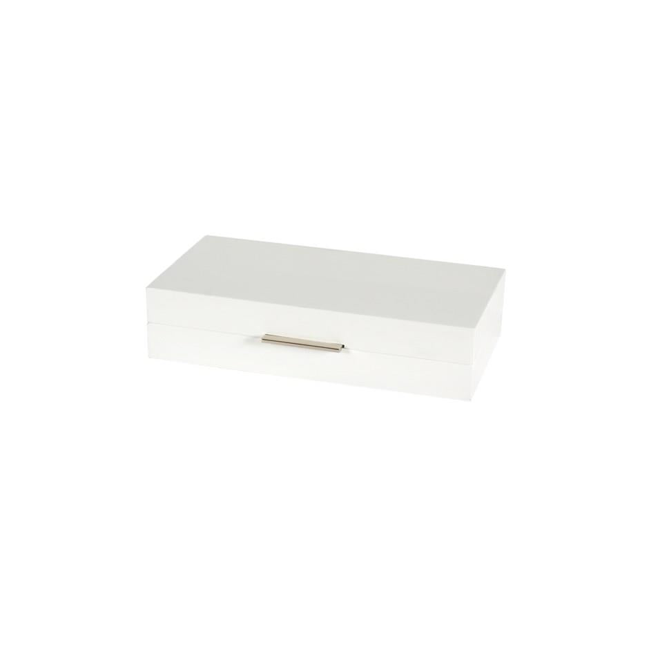 White Lacquered Box 10x5 - Boutique Marie Dumas