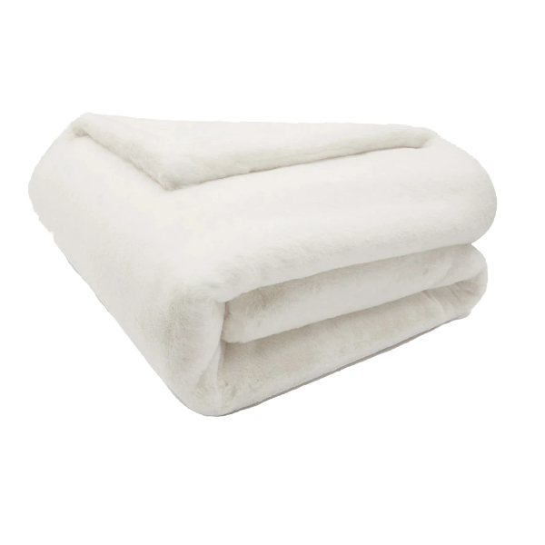 Faux Fur Throw - Small Ivory